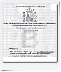 Preguntas del primer Ejercicio (Cuestionario-Test y Supuesto Práctico) de Tramitación realizado el día 11/03/2012 Modelo B