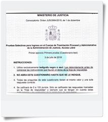 Preguntas del primer Ejercicio (Cuestionario-Test y Supuesto Práctico) de Tramitación realizado el día 03/07/16 Modelo B