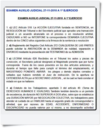 Respuestas comentadas por la academia Iustum del primer y segundo Ejercicio de auxilio judicial realizado el 27/11/2010 MODELO A