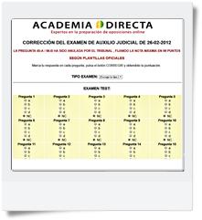 Corrección automática del primer y segundo ejercicio de Auxilio Judicial realizado el 26-02-2012 (Has de escoger el modelo de examen en primer lugar)